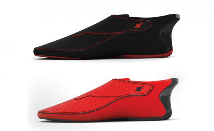 chaussures connectées lechal noir et rouge
