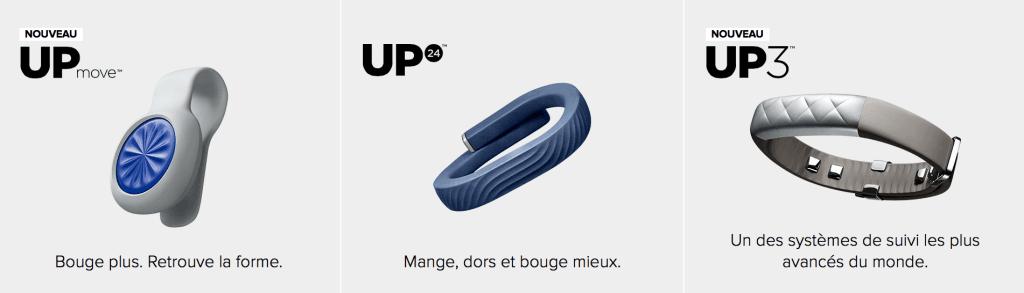 Les 3 bracelets connectés UP de Jawbone