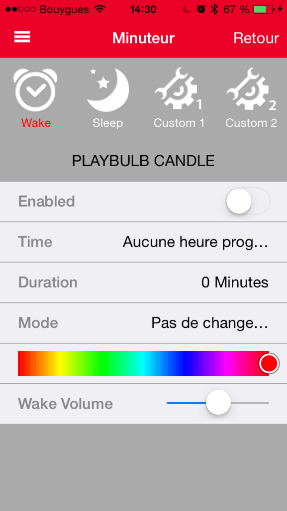 Minuteur de l'Application Playbulb