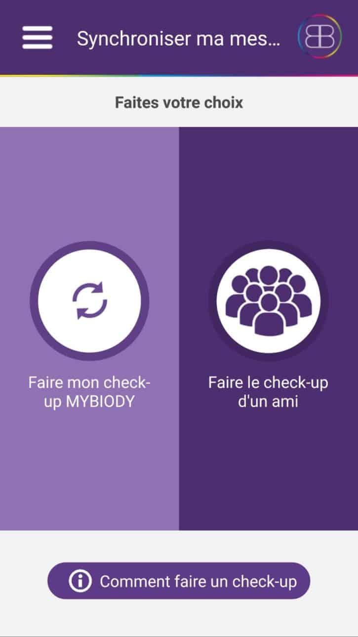 mybiody balance appli accueil menu