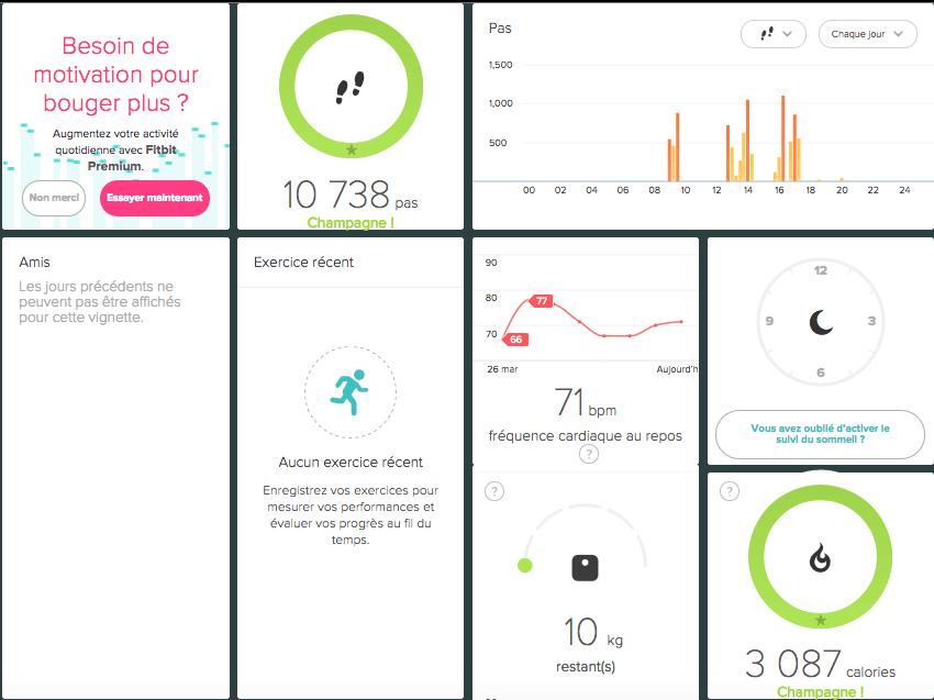 FitBit Charge HR test application ordinateur