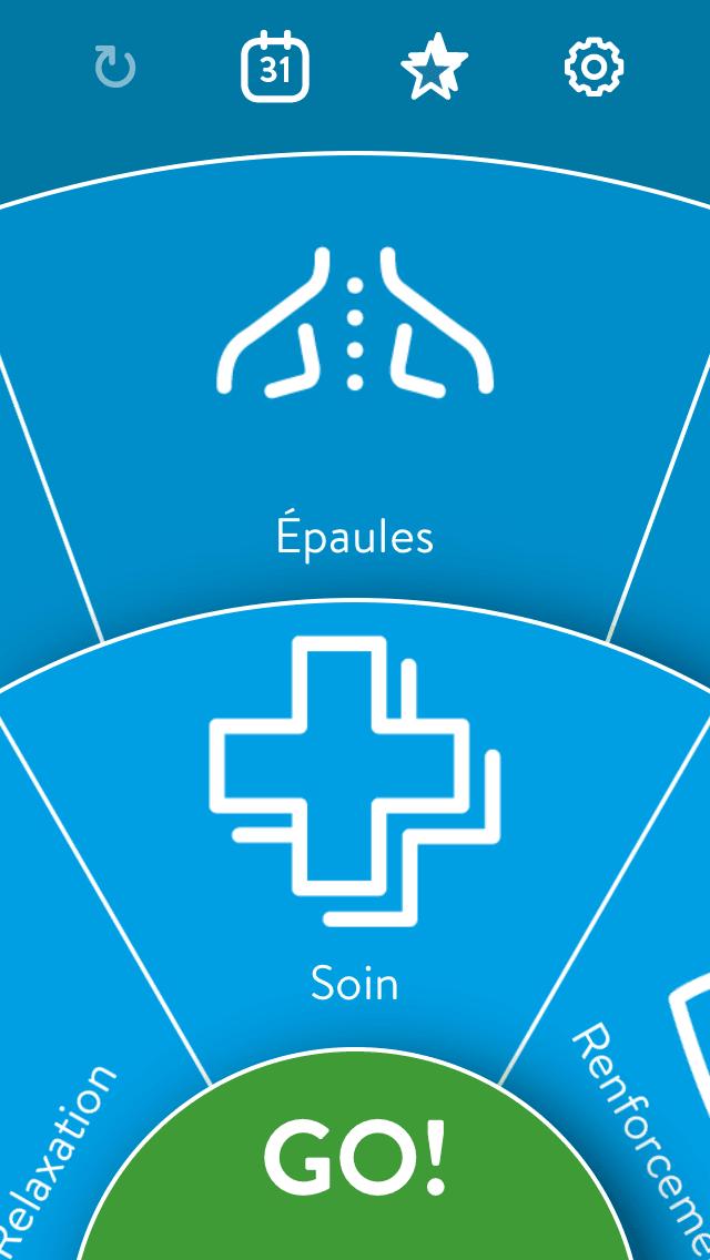 Bluetens application 1er écran : choix de la partie du corps et du mode