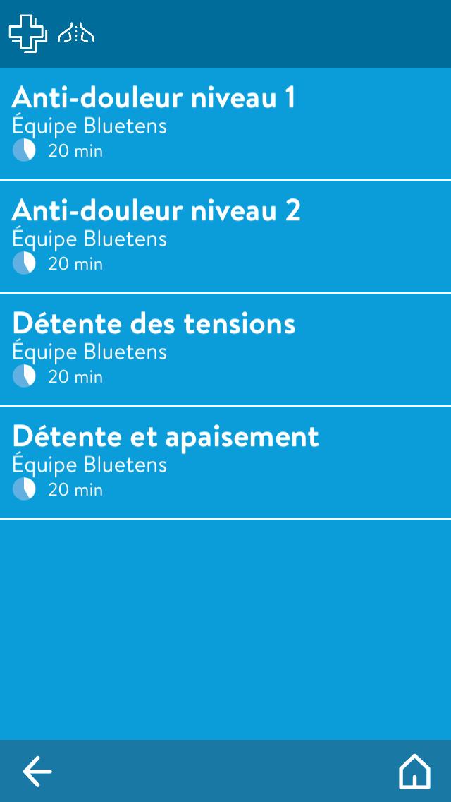 Bluetens application 2ème écran : choix du programme