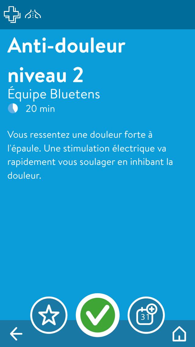 Bluetens application 3ème écran : description du programme