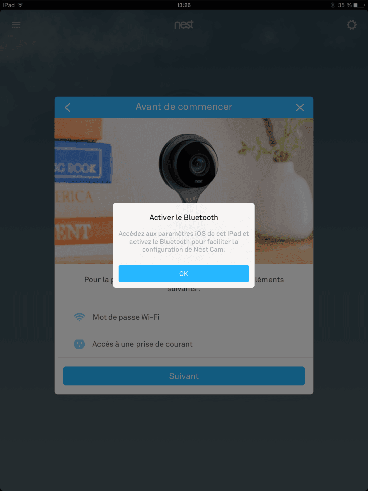 test Nest cam application buetooth