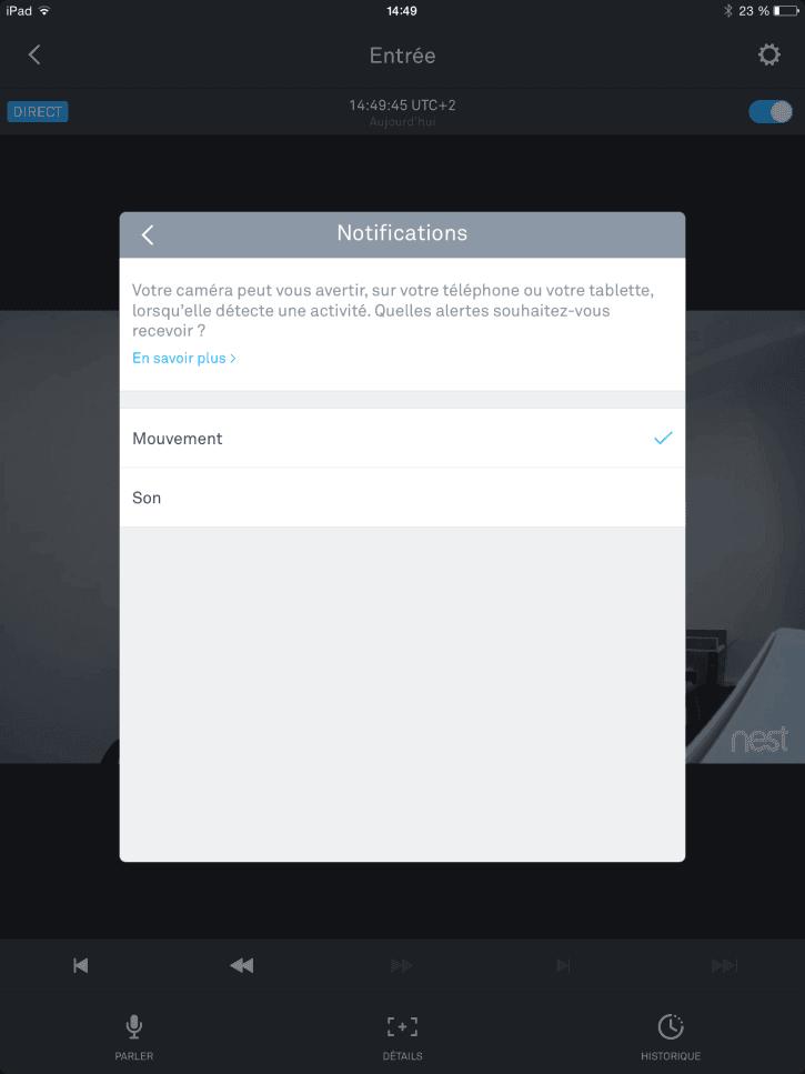 test Nest cam application notifications