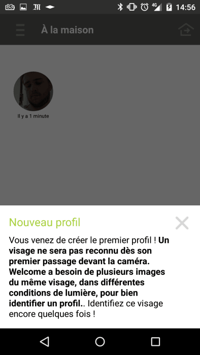 Test netatmo welcome caméra connectée application profil visage reconnu