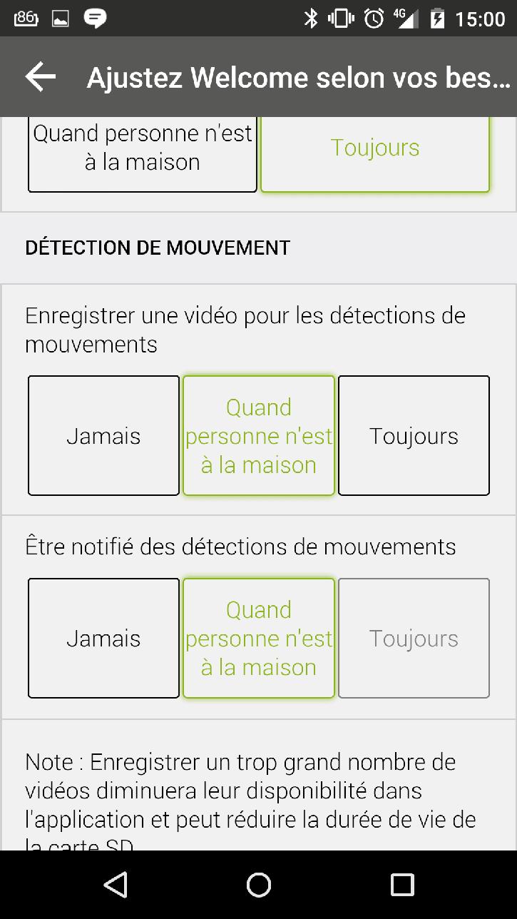 Test netatmo welcome caméra connectée application menu choix