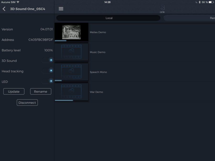 3Dsound One mobile appli menu