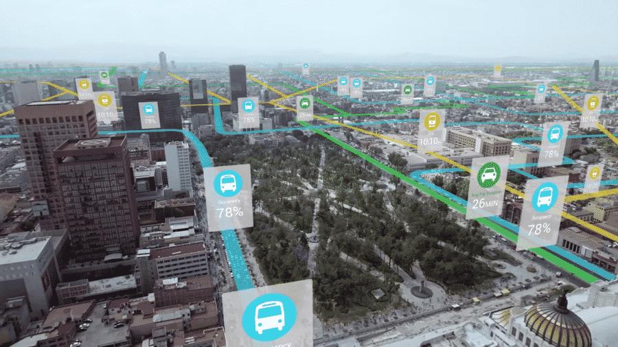 objets connectes ville intelligente vue dessus
