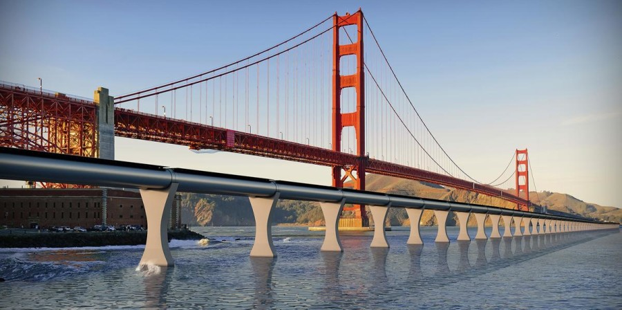 Train Hyperloop infrastructure ville futur