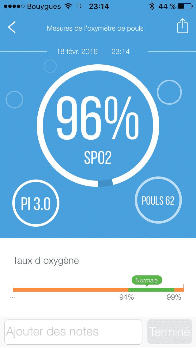 iHealth Oxymètre PO3 application pourcentage