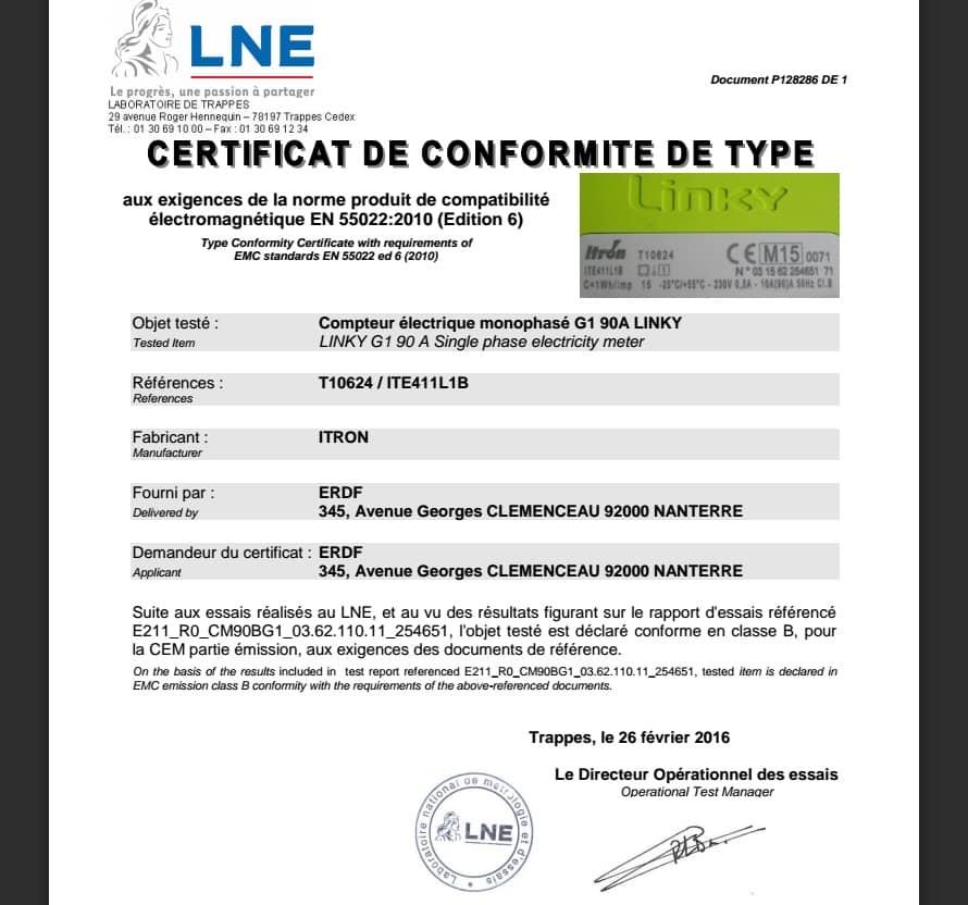 compteur erdf linky certificat
