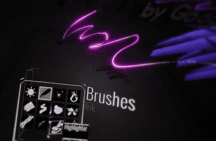 application tilt brush google pinceau