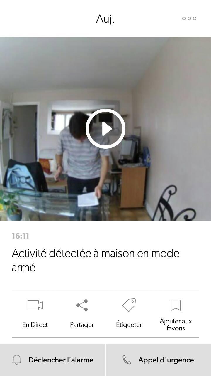 canary caméra notification détection mouvement enregistrement