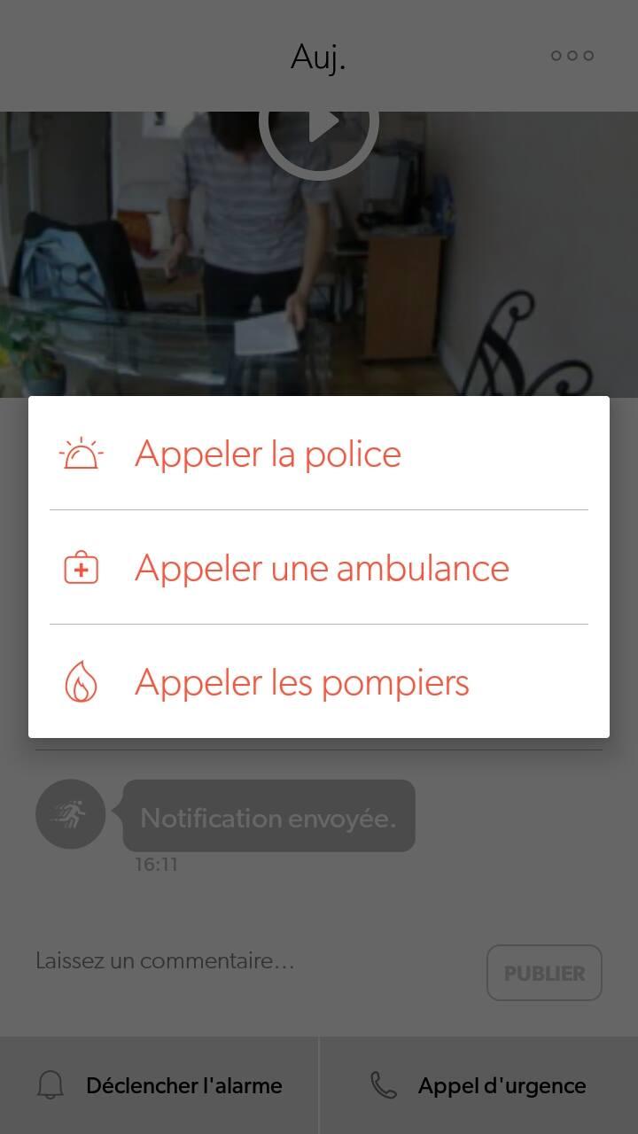 canary appli joindre police ambulance pompier