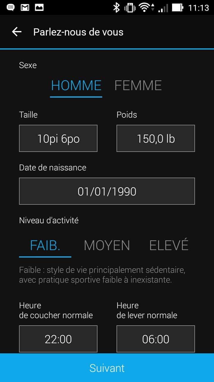 garmin vivoactive hr application profil