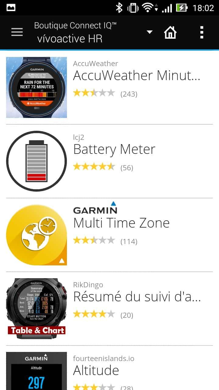 garmin vivoactive hr application boutique