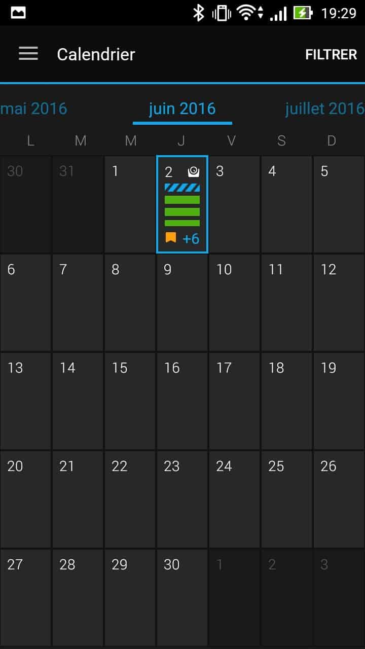 garmin vivoactive hr application calendrier