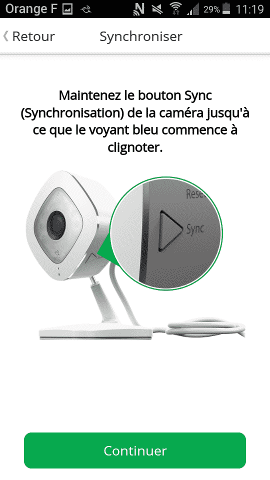 Image illustrant la synchronisation de l' Arlo Q Plus