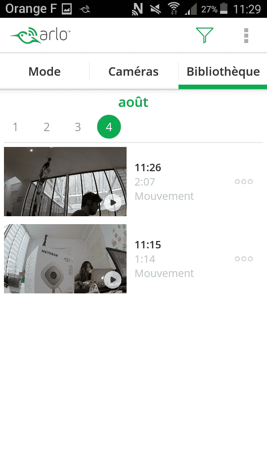 Application Arlo Q Plus enregistrement