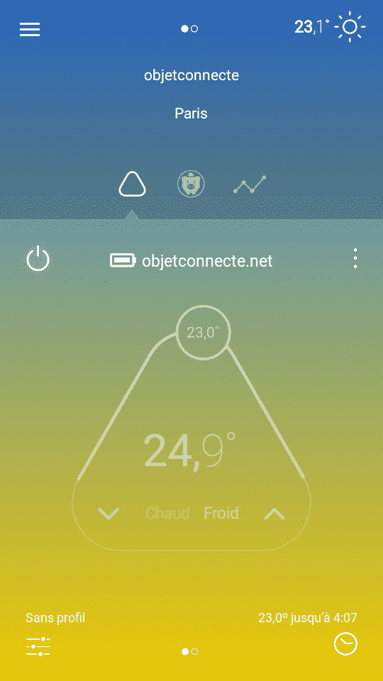 écran principal appli thermostat Momit Cool