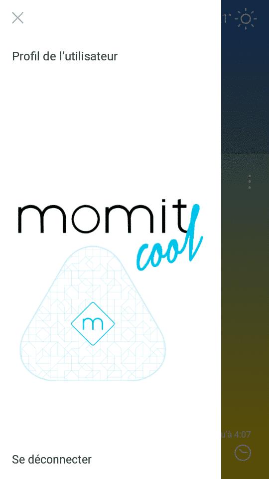 écran accueil Momit Cool