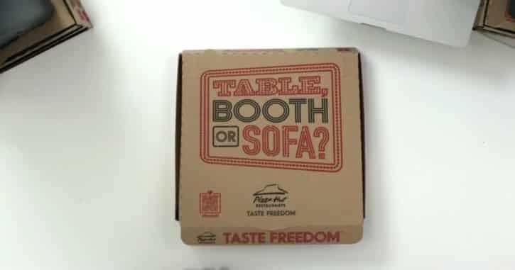 couvercle boîte de pizza Pizza Hut