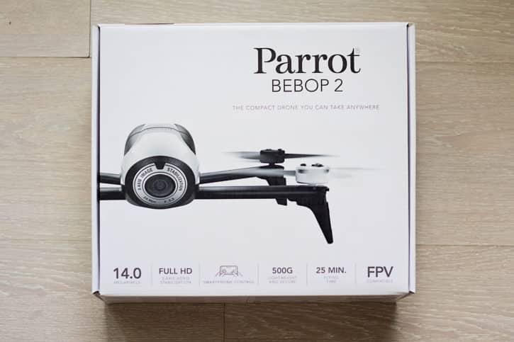 test parrot bebop 2 boîte vue avant
