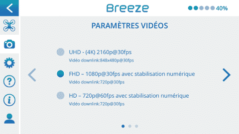 Application Breeze 4k paramètres