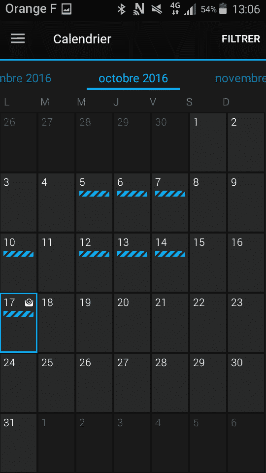 Application Vivoki calendrier