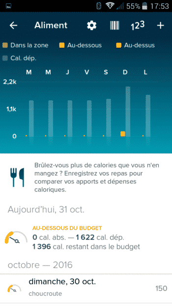 aliment eau fitbit flex 2 test application