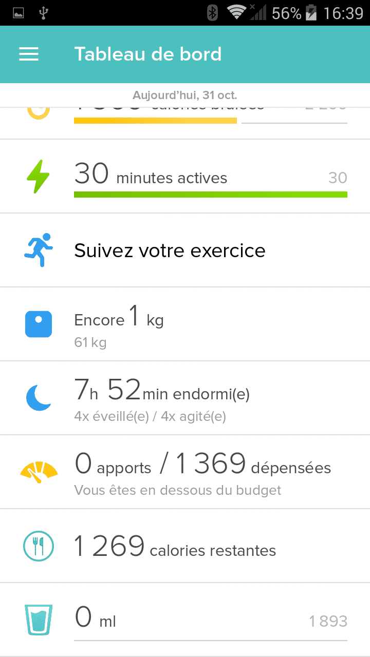 application fitbit flex 2 alarme exercice