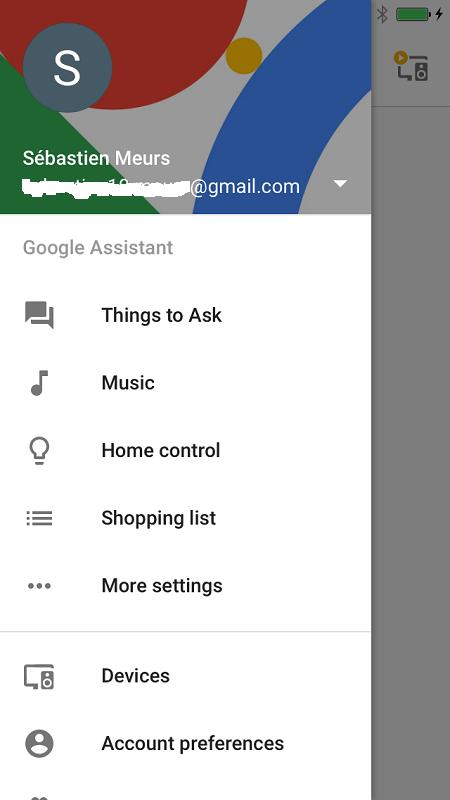 google home application menu