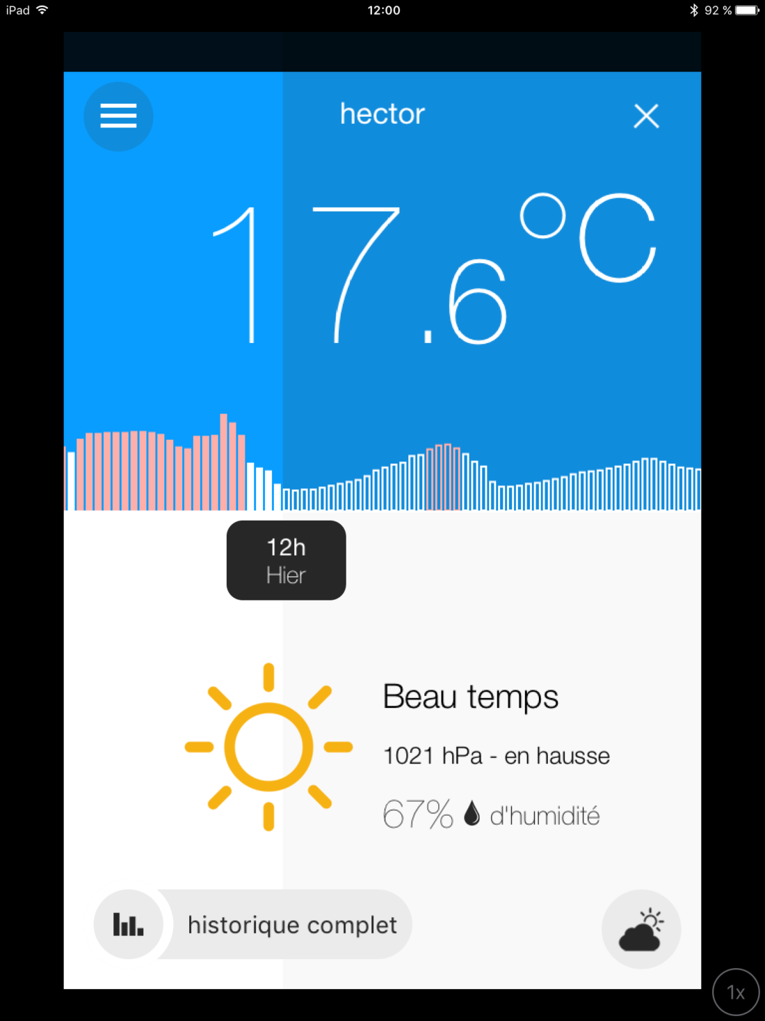 Application Hector météo évolution