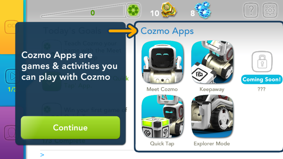 Application Cozmo Anki renseignements menu