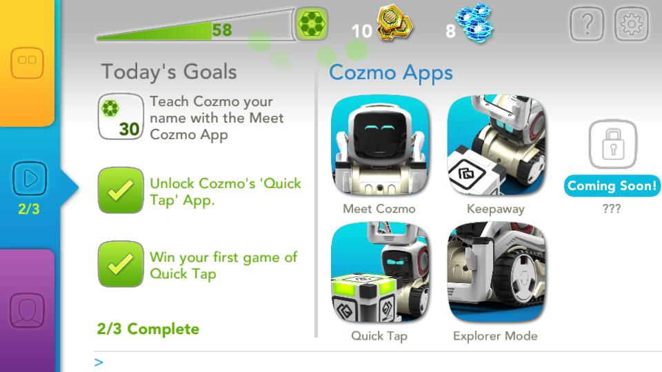 Application Cozmo Anki menu