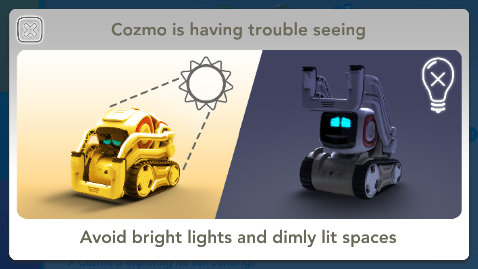 Application Cozmo Anki luminosité
