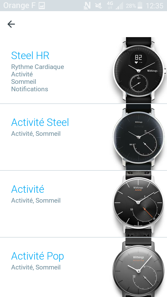 Withings Steel HR application choix modèle