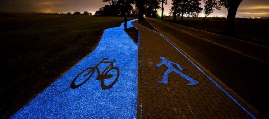 Les polonais inventent la piste cyclable phosphorescente