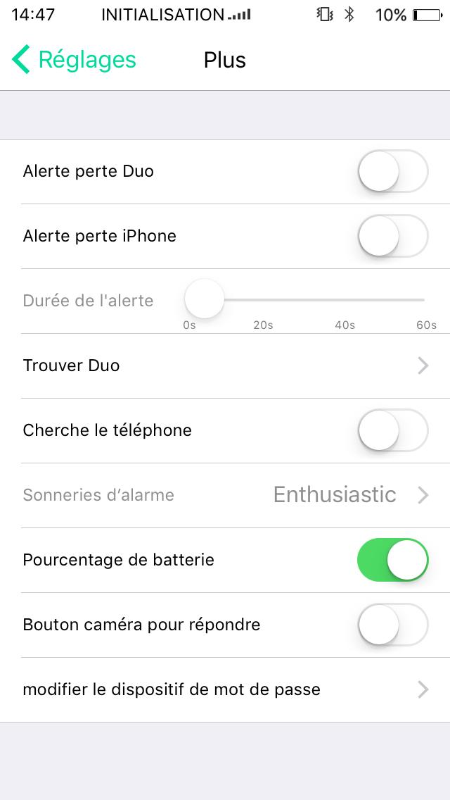 test application paramétrage avancé oui duo plus adaptateur Double Sim Bluetooth