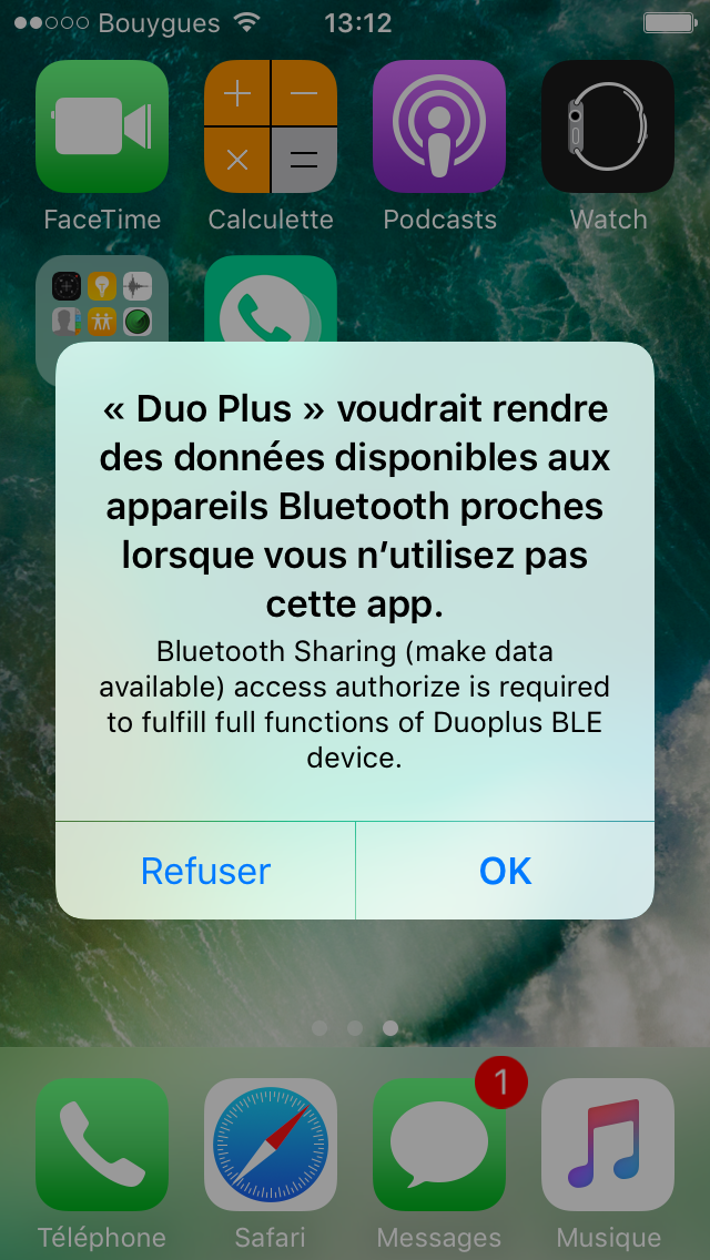 Test Application Iphone Oui Duo Plus activation Bluetooth