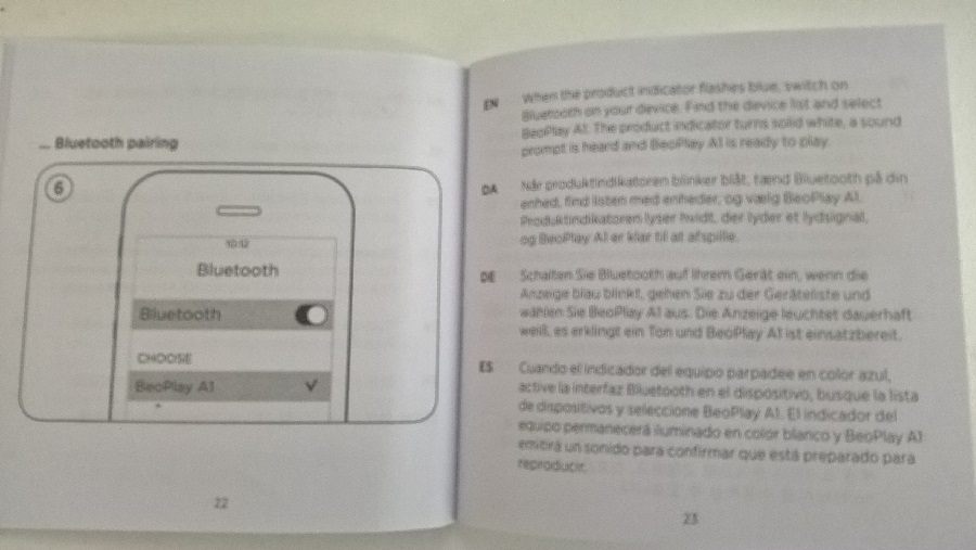 Test Unboxing notice précaution sécurité Beoplay A1 Bang & Olufsen
