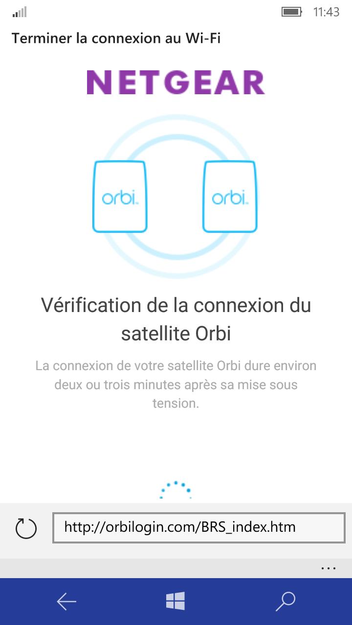 Vérification connexion satellite Orbi Windows Phone