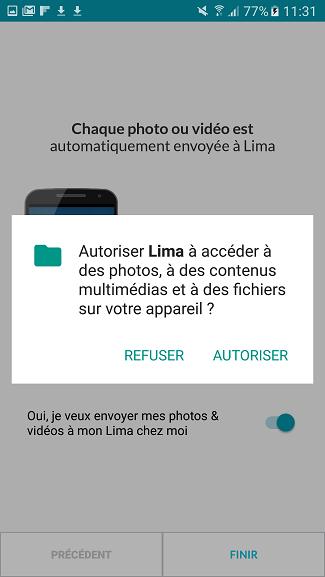 test utilisation application smartphone autorisation Lima accès contenu