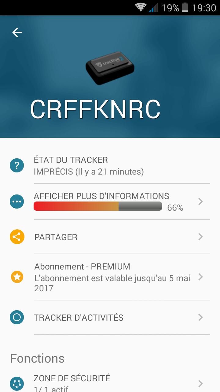 menu tractive GPS 2