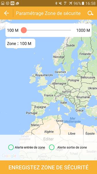 Test application Kiwip Watch Zone de Sécurité Map Europe