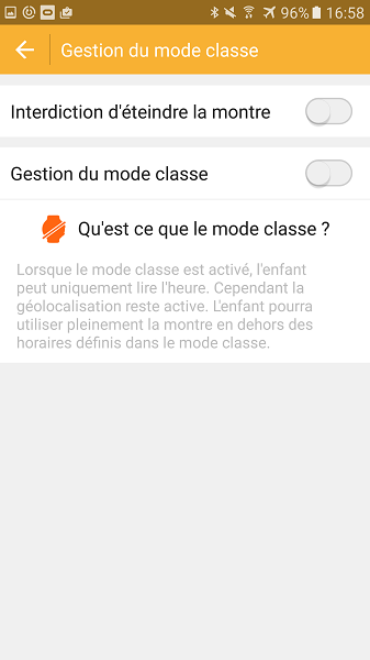 Test Application Androïd mode classe Kiwip Watch activation