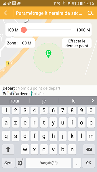 test application Kiwip Watch localisation zone de sécurité