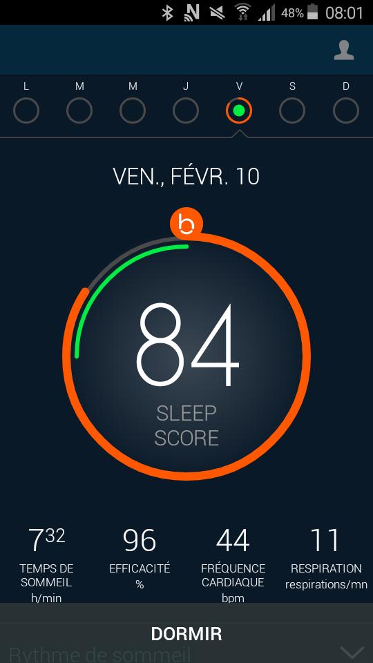 Test beddit sleep tracker application sleep score